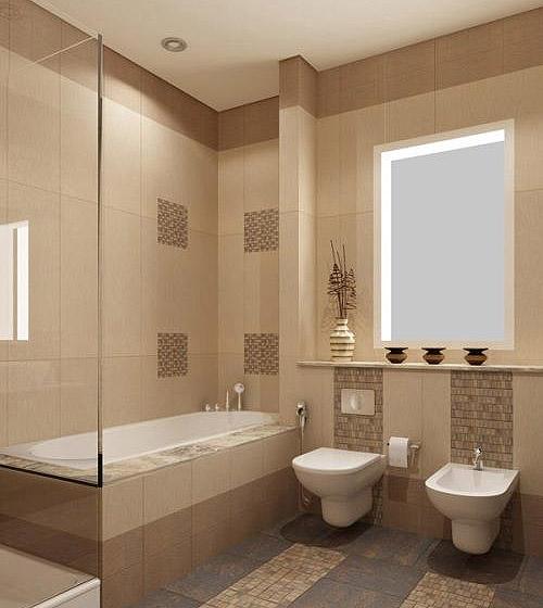 дизайн ванной бежевого цвета фото