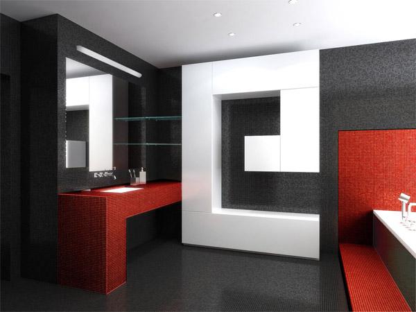Стиль хай-тек в интерьере ванной (фото)