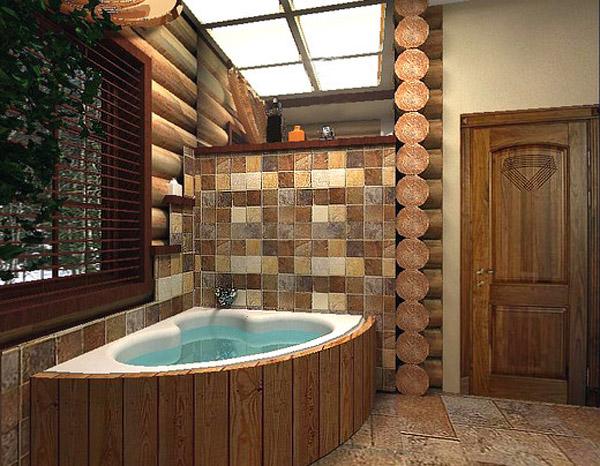Красивая ванная в стиле кантри (фото)