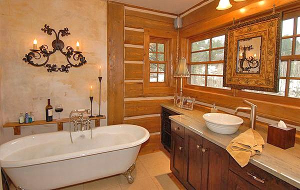 Интерьер ванной в стиле кантри (фото)