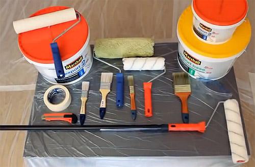 Картинки по запросу окрашивание потолков инструменты