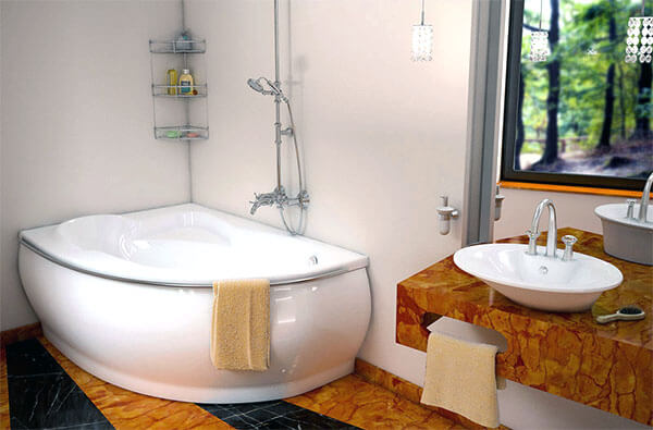Угловая ванна из литьевого мрамора