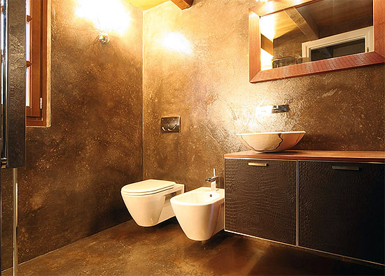 Декоративная штукатурка в ванной дизайн