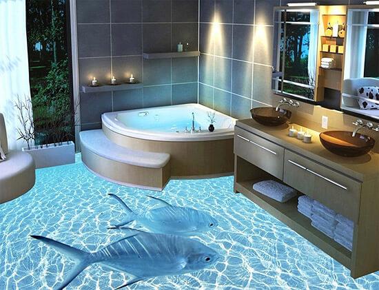 Эпоксидный 3D пол в ванной (фото)