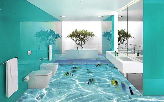 3d полы в морском стиле ванной комнаты (фото)