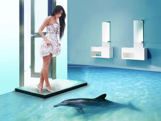 3D пол с изображением дельфина (фото)
