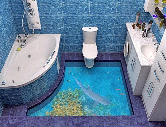 3-d пол в ванной с изображением рыб (фото)