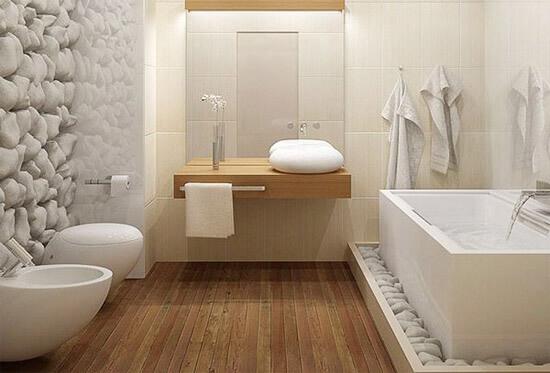 Струганные доски на полу ванной морского стиля (фото)