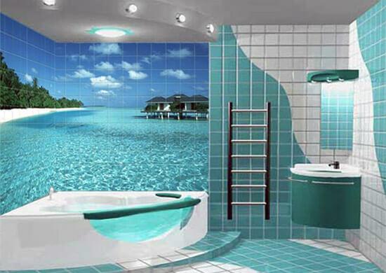 Панно в ванной с изображением пляжа