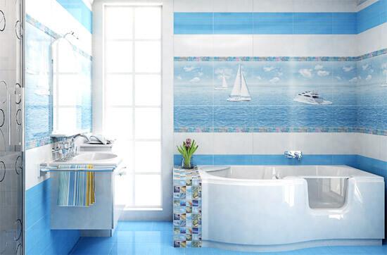 Панно морской тематики в ванной (фото)