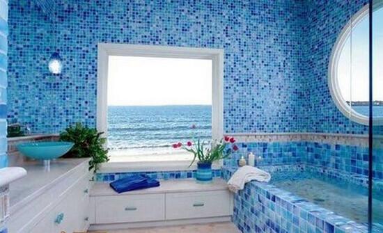 Тцвет стен ванной морского стиля (фото)